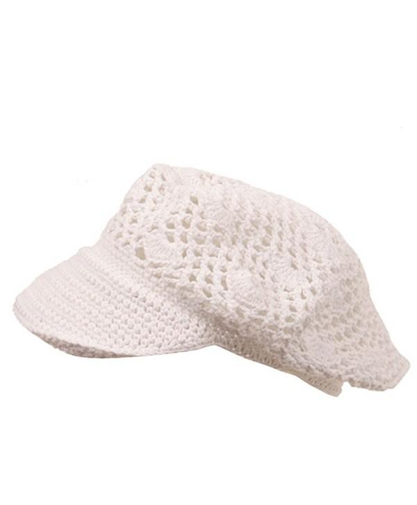 Crocheted Newsboy Hats(01)-White - CG111QRGVPV