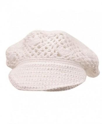 Crocheted Newsboy Hats 01 White