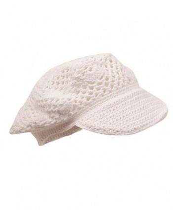 Crocheted Newsboy Hats 01 White in Men's Newsboy Caps