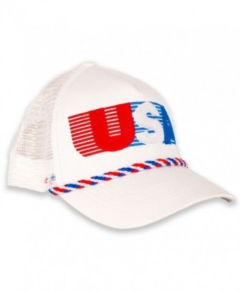 USA Patriotic Snapback Cap - American Retro Mesh Hat - White/Red/Blue - CH12O42CYGF