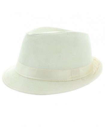 Faddism Fashion Fedora Hat - White - CB11MNEMEAL