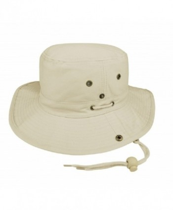 MG Men's Brushed Cotton Twill Aussie Side Snap Chin Cord Hat - Natural - CK11QK8O1RB