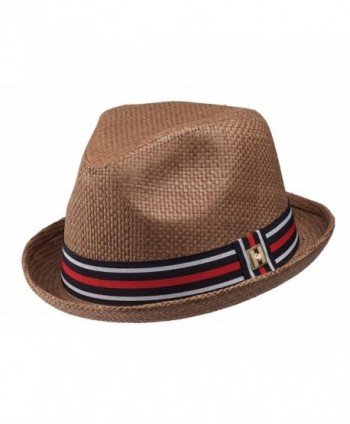 Peter Grimm Depp Brown Brim Fedora w/ Striped Grosgrain Ribbon Band PGF1108 - CD11KTUTCWZ