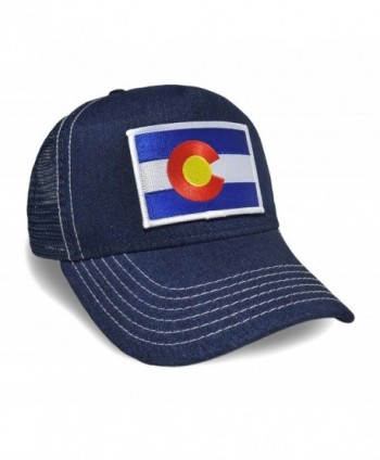 Colorado State Flag Denim Baseball Hat Adjustable Cap - CJ12NZQT5B2