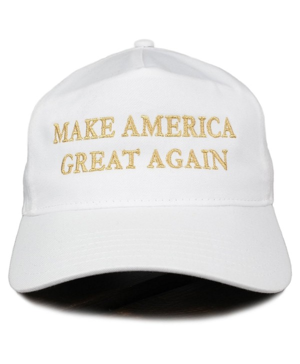 Make America Great Again Donald Trump METALLIC GOLD Embroidered Cap - White - C212O8EXIHI