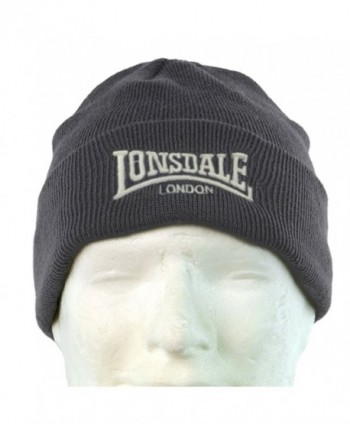 Lonsdale Men&acutes Beanie Embrioded Logo Pull Down Hat Cap - Grey - CS11VJ4MMRR
