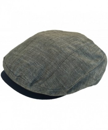 100% Linen Ivy Cap Modified Linear Cut 5 Point Newsboy Drivers Hat - Olive - CC184US2DGW