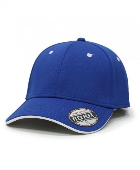 Flex Stretchable Cool Mesh Flipped Edge Visor Low Profile Pro Style Baseball Caps - Blue/White - C0123KRNV9X