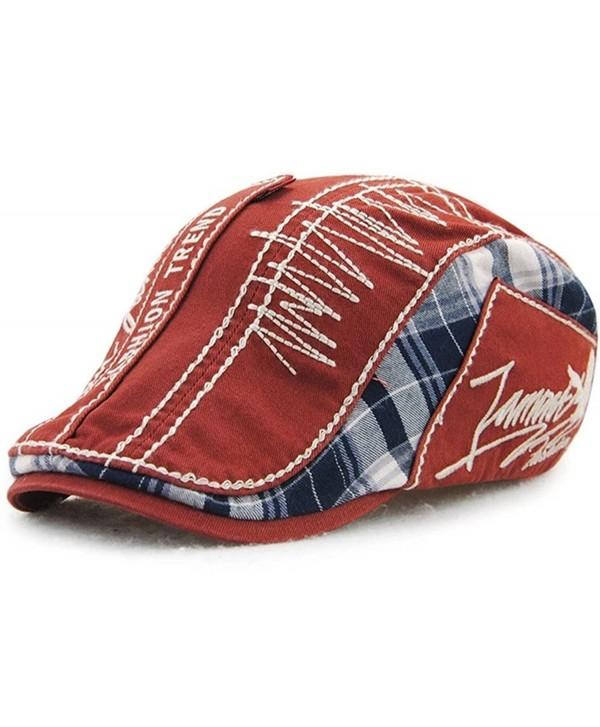 YOYEAH Men's Cotton Flat Cap Newsboy Ivy Cabbie Driving Caps Hats - Red - CG183K6C6X0