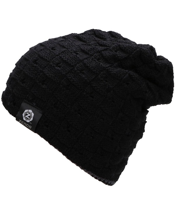 Zenco Men / Women's Winter Handcraft Knit Dual-Layered Slouchy Beanie Hat - Black - CG12846OMBB