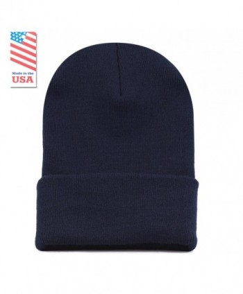 The Hat Depot Unisex Made In USA Thick Skull Beanie Plain Ski Hat - Navy - C712I1ZABRD