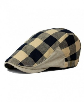 Qunson Men's Plaid Ivy Flat Gatsby Cabbie Newsboy Driving Hat Cap - CV12H3S8F3H