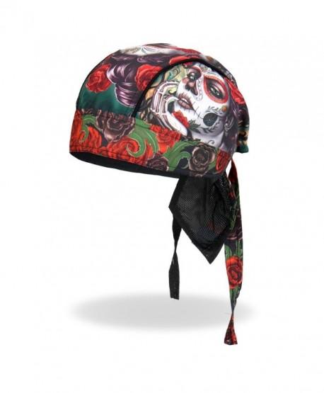 Sugar Muerte Calavera Skull Roses Head Wrap Durag Skull Cap Biker - CW12DAA0T1V