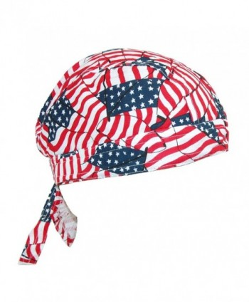 CTM Men's Cotton American Flag Do Rag Cap - Tossed American Flag - CC12G8UQWJ5