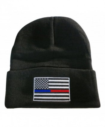 TrendyLuz Thin Blue Red Line USA Flag Knit Skull Cap Hat Beanie Support Police Firefighter - C212O35C9SP