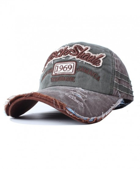 Vankerful Washed Cotton Baseball Caps Adjustable Snapback Embroidered Trucker Hat - Browngreen - CT185ZZMQUW