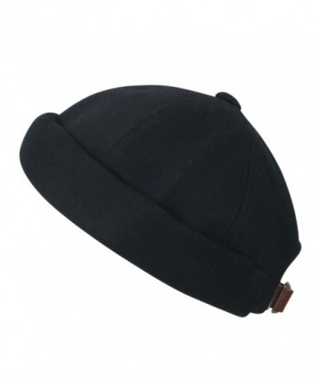 ililily Solid Color Cotton Short Beanie Strap Back Casual Hat Soft Cap - Black - C2188OZKZHE