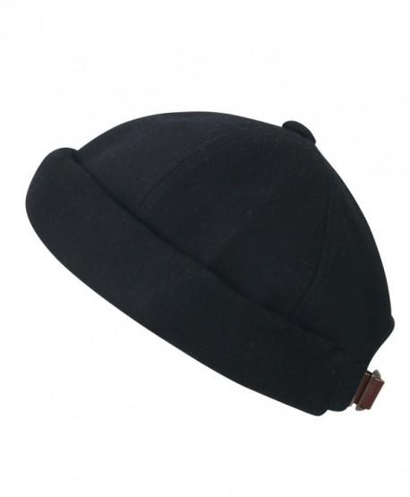 ililily Solid Color Cotton Short Beanie Strap Back Casual Hat Soft Cap - Black - C2188OZKZHE