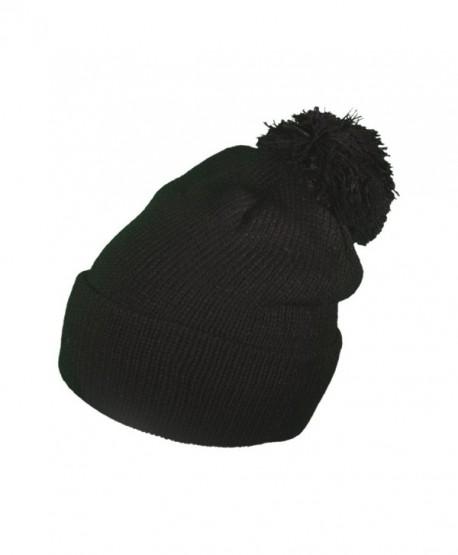 BK Caps Winter Ski Throwback Long Beanies Knit Hats Skull toboggan Caps With Pom Pom - Black - C612N8A1IX7