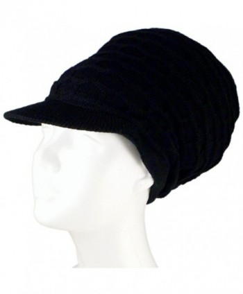 "SSK Rasta Dread Knit Tam Hat - ""Dreadlocks Cap"" (Medium Length Solid Black- with Brim) - CQ11QS0T40P"