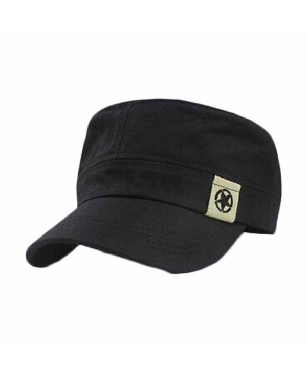 UPLOTER Flat Roof Military Hat Cadet Patrol Bush Hat Baseball Field Cap - Black - C112J5JIWM1