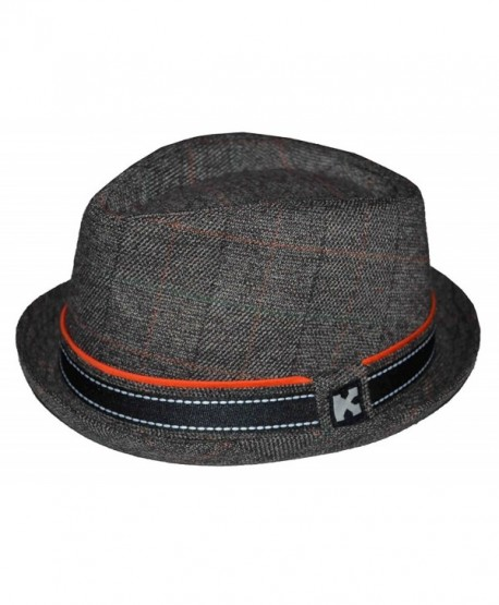 K Men's Upturn Diamond Crown Pork Pie Cotton Fedora Brown - C012N9PUVR1