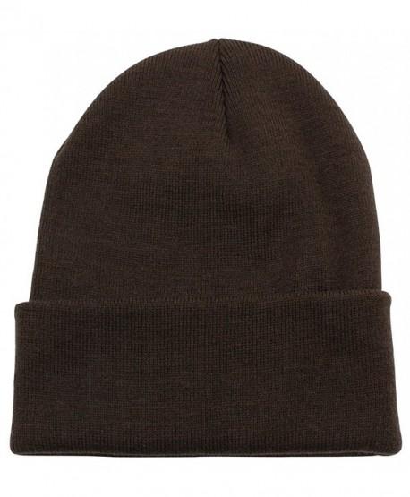PZLE Warm Winter Hat Knit Beanie Skull Cap Cuff Beanie Hat Winter Hats for Men (Brown) - C012OBXB4J7