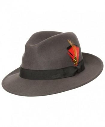Levine Hat 9th Street Reverb Classic Felt Fedora 100% Wool - Charcoal - CX187EKMYO5