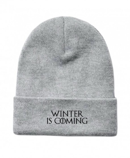 "Game of Thrones Inspired ""Winter Is Coming"" Embroidered Fold-Over Beanie - Heather Gray - CA187ATUA05"