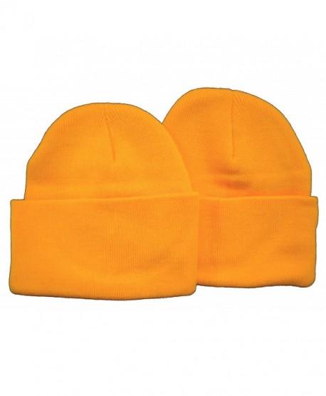 Holiday Deals! 2 Pack Knit Beanies / Yellow-Gold - C9110ZJ2K51