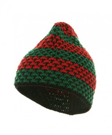 Hand Crocheted Beanie (03) - Green Red - CE111C6HU9R