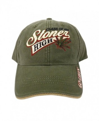 Class of 420 Stoner High Marijuana Leaf Baseball Cap Hat Weed MJ Ganja Earthy - Green - CF128VQWIGP