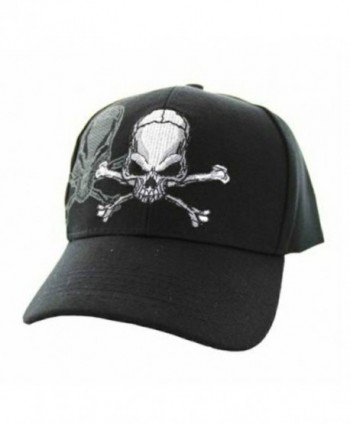 Skull & Crossbones Cap w/ Shadow- Adjustable 3D Embroidery Baseball Cap Hat - Black - CT12NROW6G1