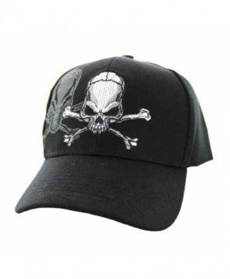 Skull & Crossbones Cap w/ Shadow- Adjustable 3D Embroidery Baseball Cap Hat - Black - CT12NROW6G1
