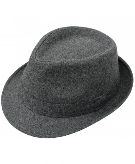 Lullaby Mens Womens Short Brim Classic Manhattan Gangster Trilby Fedora Hat - C.grey - CZ1804MU673