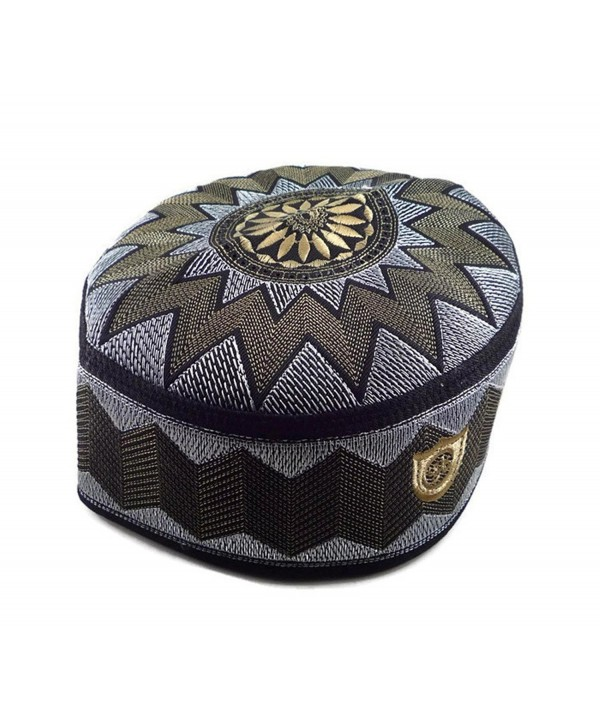 Alwee ALW006 Muslim Prayer Headware Kufi Hat Men Islam Skull Cap Ramadan Eid Gift - Brown - CV12ILDLZFX