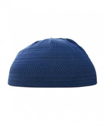 Dark Blue Cotton Stretch Knit Kufi Hat Skull Prayer Cap Beanie - CA17WXYSMOL