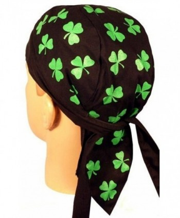 Skull Cap Biker Caps Headwraps Doo Rags - Shamrocks on Black - C912ELHNNK3