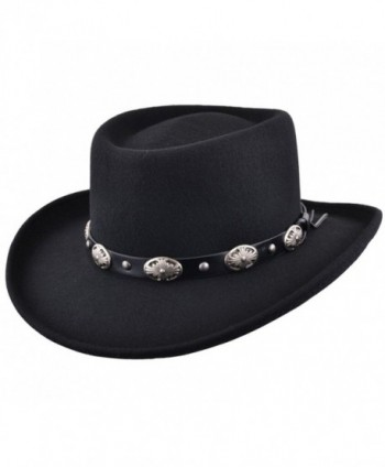 Maz Crushable Wool Felt Gambler Cowboy Hat with Buckle Band - Black - CQ187ZY7GIM