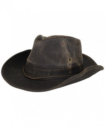 Dorfman-Pacific Weathered Cotton Outback Hat With Chin Cord - Brown - CX113CUVDLH
