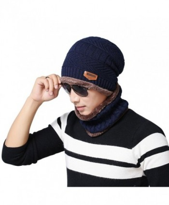 potato001 Fashion Beanie Men Winter Warm Faux Fur Lined Baggy Hat Neckerchief Scarf Cap - Navy Blue - CM186REY0NU