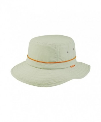 Juniper Taslon UV Bucket Cap with Orange Piping - Khaki with Red Piping - C011LV4GO97