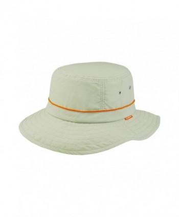 Juniper Taslon UV Bucket Cap with Orange Piping - Khaki with Red Piping - C011LV4GO97