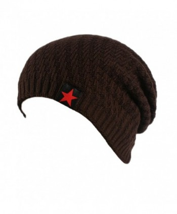Summer Mae Men's Stars Knit Warm Cap Velvet Slouchy Beanie Hat - Coffee - C712MAEMBEF