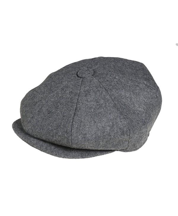 Peaky Blinders Men's 8 Piece 'newsboy' Style Flat Cap Wool - Grey - CT188LCG49M