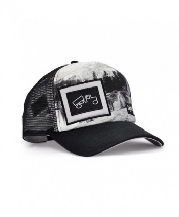 bigtruck Original Outdoor Mesh Snapback Trucker Hat- Black/White/Graphic - CX12E6U5VPF