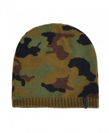 7db8398c9 Men's Soft Knitted Camouflage Beanie Hat Skull Ski Cap - Green - CA126IT399H