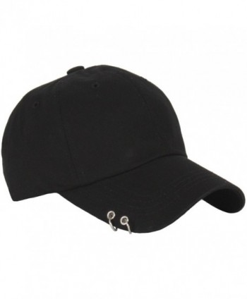 RaOn B160 Punk Silver Ring Piercing Rock Cotton Basic Ball Cap Baseball Hat Truckers - Black - CM12HPK71TR