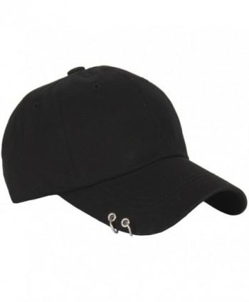 RaOn B160 Punk Silver Ring Piercing Rock Cotton Basic Ball Cap Baseball Hat Truckers - Black - CM12HPK71TR
