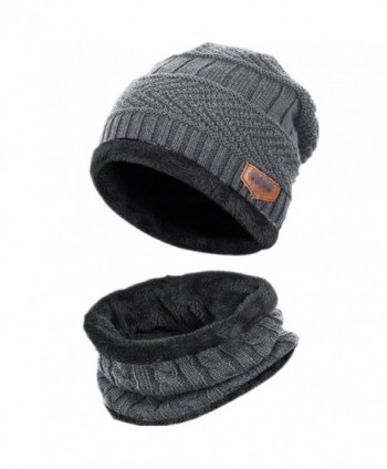 Kata Beanie Hat Scarf Set Thick Knit Hat Warm Fleece Lined Scarf Warm Winter Hat For Men & Women - Grey - C6185XU4O84